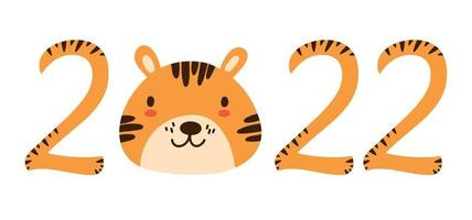 2022 orange numbers with stripes isolated on white. Cute Chinese New Year 2022 Christmas logo with baby tiger character face. Lunar zodiac symbol of 2022 Year of Tiger. Idea for children calendar card vector