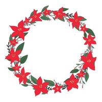 Christmas holly berry cute wreath with poinsettia - Christmas star winter flower in simple flat drawn style. Traditional festive laurel, empty round frame with copy space, holiday design template vector