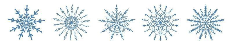 Set of hand drawn blue snowflake icon isolated on white background. Winter design element snow flake frost crystal vector illustration collection.