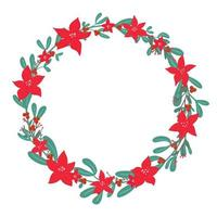 Christmas holly berry mistletoe cute wreath with poinsettia - Christmas star winter flower in simple flat drawn style. Traditional festive laurel, empty round frame with copy space, holiday template vector