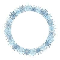 Beautiful winter season, Christmas, New Year round frame, wreath with hand drawn blue snowflakes isolated on white background. Winter festive design template with empty copy space vector