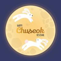 Greeting card with text - Happy Chuseok Festival, full moon, rabbits vector