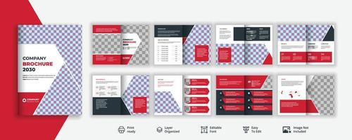 Creative and professional 16 page corporate brochure design or business service promotional leaflet , Company profile annual report vector