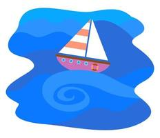 Simple Nautical Boat Sailing along the Wavy Sea vector