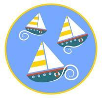 Sailing Boats Racing along the Wavy Sea vector