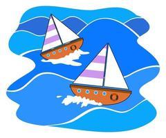 Simple Nautical Boats Sailing along the Wavy Sea vector