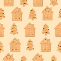 Seamless pattern with Christmas tree and house. Gingerbread cookies on beige background. New Year icon flat vector illustration.