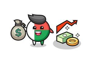 madagascar bandera insignia ilustración caricatura sosteniendo saco de dinero vector