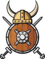 Viking Helmet and Crossed Swords vector