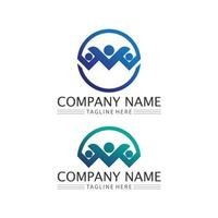 Human and people logo design Community care icon vector