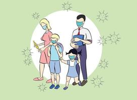 Family wearing protective Medical mask for prevent virus Wuhan Covid-19. Health Protection, Healthcare, Covid, Respiratory, Safety, Protection, Outbreak. Dad Mom Daughter Son wearing a surgical mask. vector