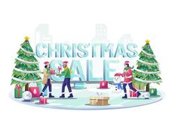 people ice skiing and giving gifts to each other near big words Christmas sale sign. Flat vector illustration