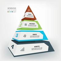 Business concept infographic template with pyramid. vector