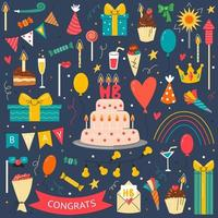 Birthday party elements set on blue background vector