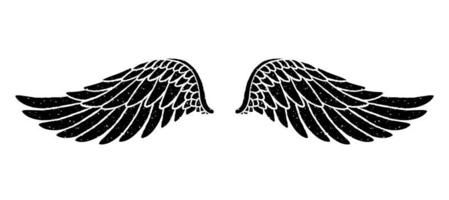 Hand drawn bird or angel grunge textured flapping wings. Hand drawn wings silhouette for t-shirt prints, tatoo design, vintage styled poster. vector