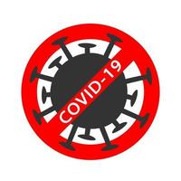 Coronavirus red Prohibit Sign, 2019-nCoV, Covid-19 Novel Coronavirus Bacteria. No Infection and Stop virus Concept. Dangerous Coronavirus Cell. Coronavirus sign isolated on white background vector