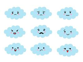 Set of cloud shaped emoji with different mood. Kawaii cute clouds emoticons and Japanese anime emoji faces expressions. vector
