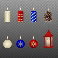 set of isolated christmas candles vector