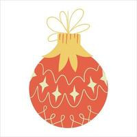 Christmas ball toy in retro style is isolated on a white background. Mid-Century Modern design, 1950s 1960s. Vector illustration in a flat style. Decor for holiday cards