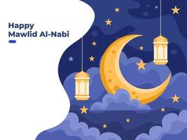 Mawlid al Nabi or Prophet Muhammad birthday illustration with moon, stars, and hanging light lanterns. can be used for greeting card, post card, web, banner, social media post. vector