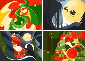 Collection of christmas banners. Different postcards templates. vector