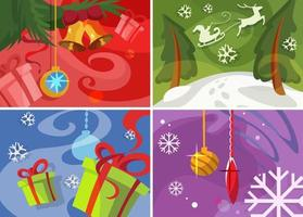 Collection of Christmas banners. Placard designs in cartoon style. vector