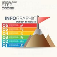 Infographics step by step. Pie chart, graph, diagram with 10 steps, options, parts, processes with small arrows. Vector business template for presentation and training.