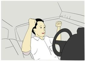 Man showing a happy expression in the car vector