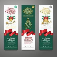 Merry Christmas banner vertical background, vector illustration