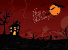 Halloween night background with ghosts, haunted house, and full moon. Flyer or invitation template for Halloween party. Vector illustration for the cover of the site.