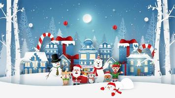 Landscape of Christmas party with Santa Claus and cute character in snow town vector