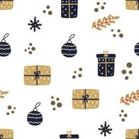 Hand drawn seamless pattern of christmas gifts and ball. Modern flat illustration. vector