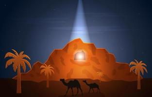 Nabi Prophet Muhammad Messenger Hira Cave Islam History Islamic Illustration vector