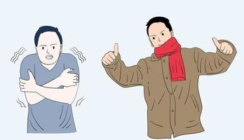 A man wearing a shirt that is cold. Next to him is a man who looks happy for wearing a jacket. Hand drawn style vector design illustrations.