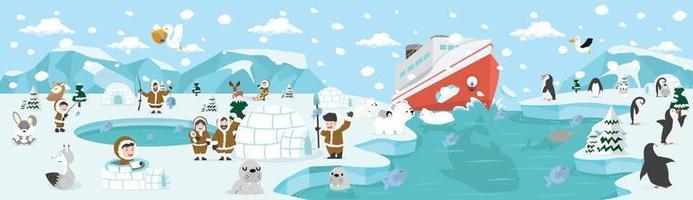 north pole arctic Landscape Scene vector