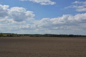 Panorama de un campo de primavera desyerbado por un tractor foto
