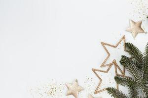 Christmas decor background. Flat lay, top view. photo