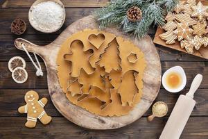 Baking Christmas cookies at home. photo