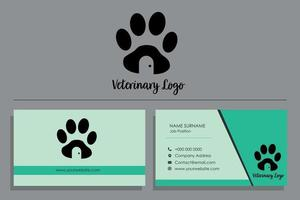 Turquoise vet business card with footprint logo design vector