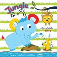 elephant with monkey and mouse play in jungle funny cartoon vector
