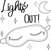vector antifaz para dormir con los ojos cerrados con pestañas. buenas noches con mes y estrellas ilustración de mano aislada