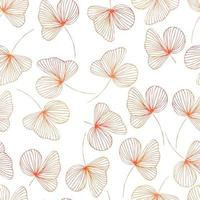autumn contour watercolor leaves with gradient vector seamless pattern. background for fabrics, prints, packaging and postcards