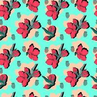 vector seamless pattern contour floral  with opened leaves and buds on a contrasting background with dots. Botanical illustration for fabrics, textiles, wallpapers, papers, backgrounds.