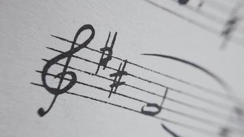 Detalle de notas en partitura musical video
