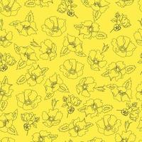 vector seamless pattern contour floral  with opened leaves and buds on a contrasting background . Botanical illustration for fabrics, textiles, wallpapers, papers, backgrounds.