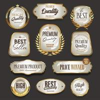 Retro vintage golden labels and badges collection vector