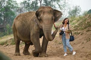 las turistas alimentan a los elefantes de una manera divertida. foto
