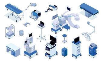 Operating Room Isometric Set vector