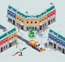 Snow Clearing Town Composition vector