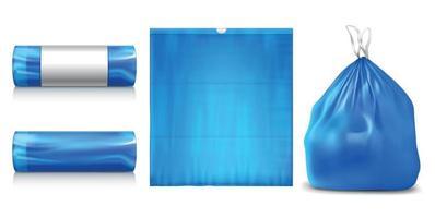 Plastic Trash Bags Set vector